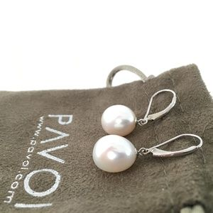 NWOT Pavoi Silver and Pearl Earrings